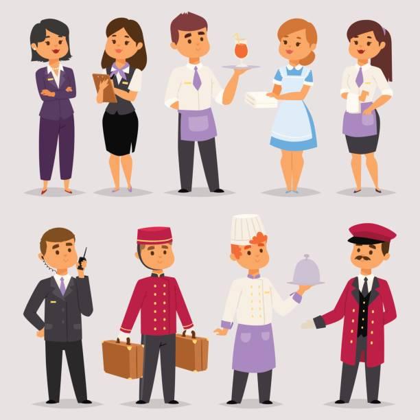 hotel berufe menschen arbeiter angestellte an der rezeption stehen beim hotel zähler zeichen in uniform vektor-illustration - rezeptionseingang stock-grafiken, -clipart, -cartoons und -symbole