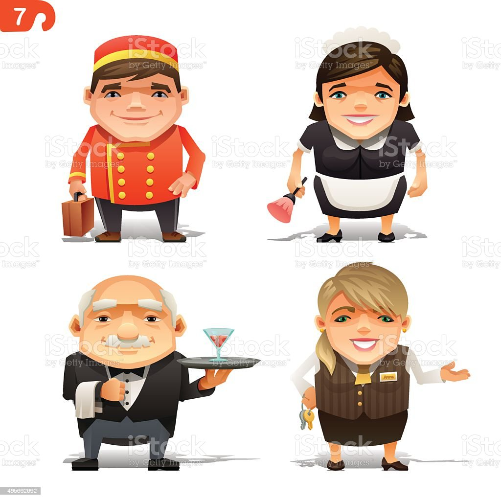 Hotel professions set vector art illustration