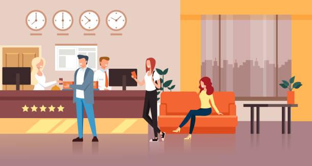 hotel reception concept. vector flat cartoon graphic design isolated illustration - hotel reception stock illustrations
