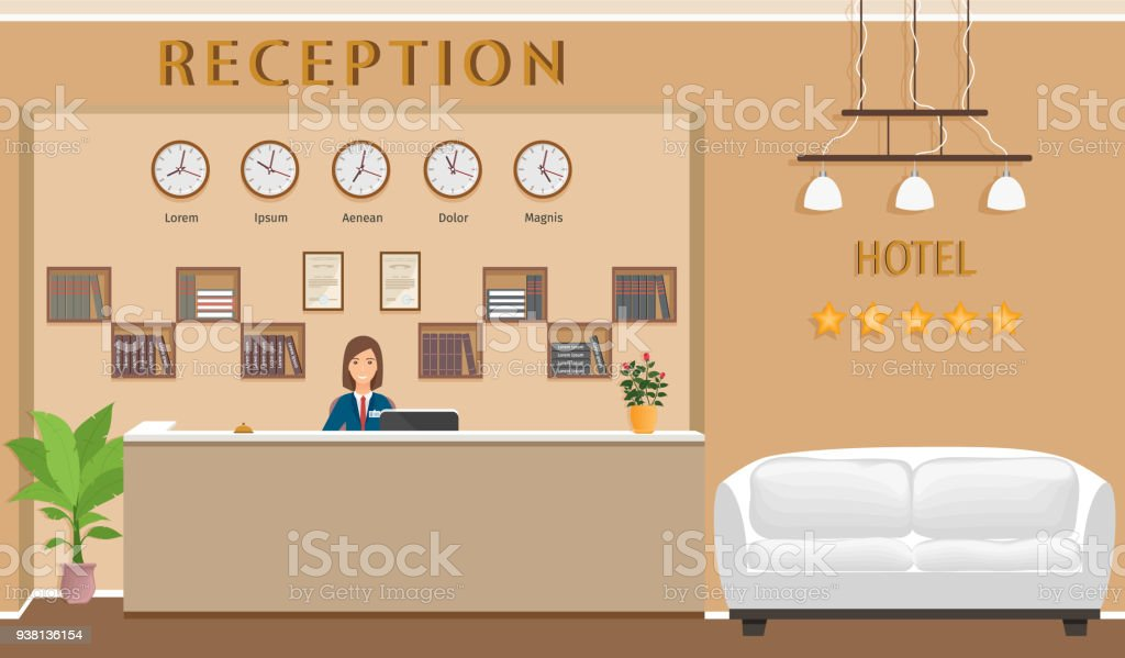 Hotel Rezeption Theke Mit Rezeption Und Ein Sofa Resort Halle ...