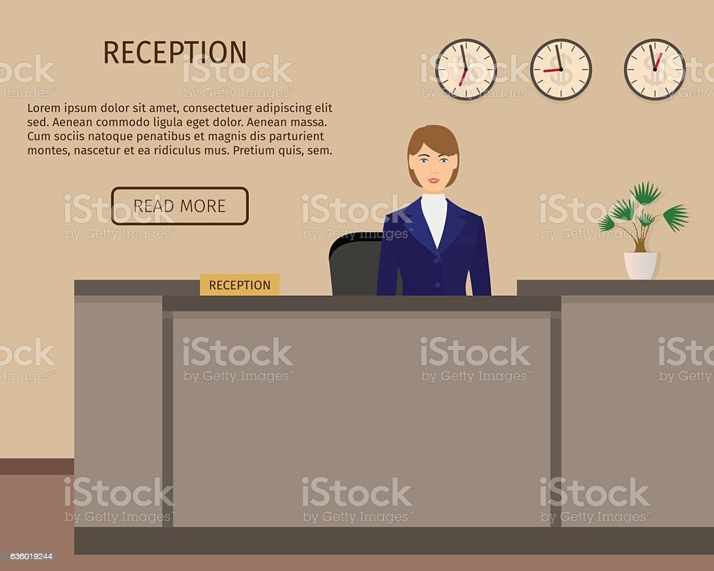 Hotel reception desk business office concepr. Receptoin service. - ilustración de arte vectorial