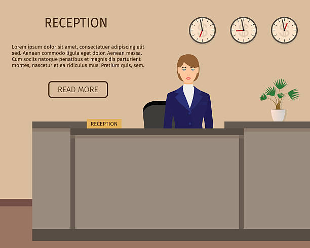 hotel reception desk business office concepr. receptoin service. - bürorezeption stock-grafiken, -clipart, -cartoons und -symbole