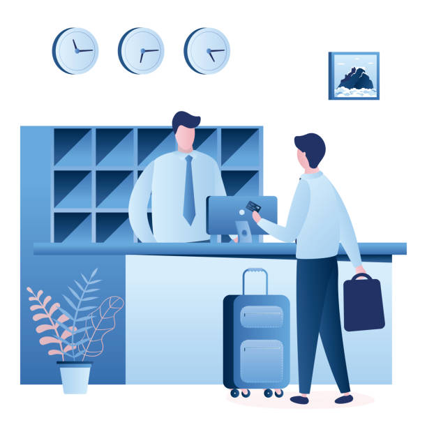 hotel reception desk interior. man receptionist talking with male tourist. b - hotel reception stock illustrations