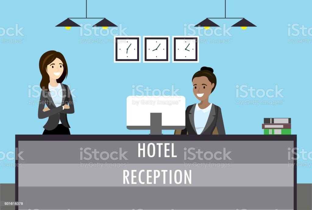 hotel reception desk vector art illustration