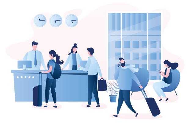 hotel reception desk,interior with furniture,people receptionists and travellers with luggage - hotel reception stock illustrations