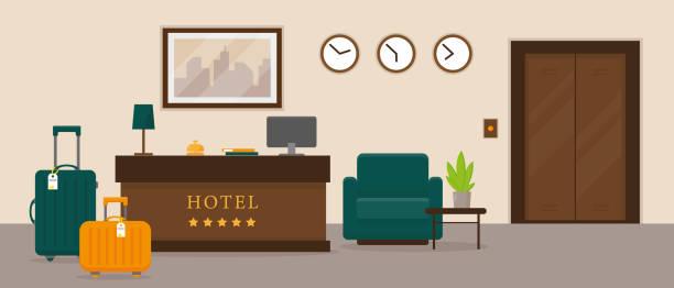 hotel reception interior design. resort hall vector illustration. - hotel reception stock illustrations