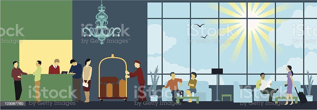Hotel Reception Interior Scene vector art illustration