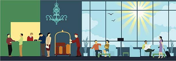 интерьер сцены стойка регистрации отеля - hotel reception stock illustrations