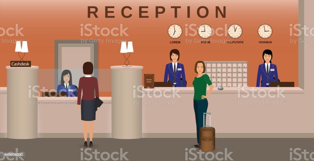 Hotel reception interior with employee and guests. Concierge desk and cashbox. Resort welcoming concept. vector art illustration