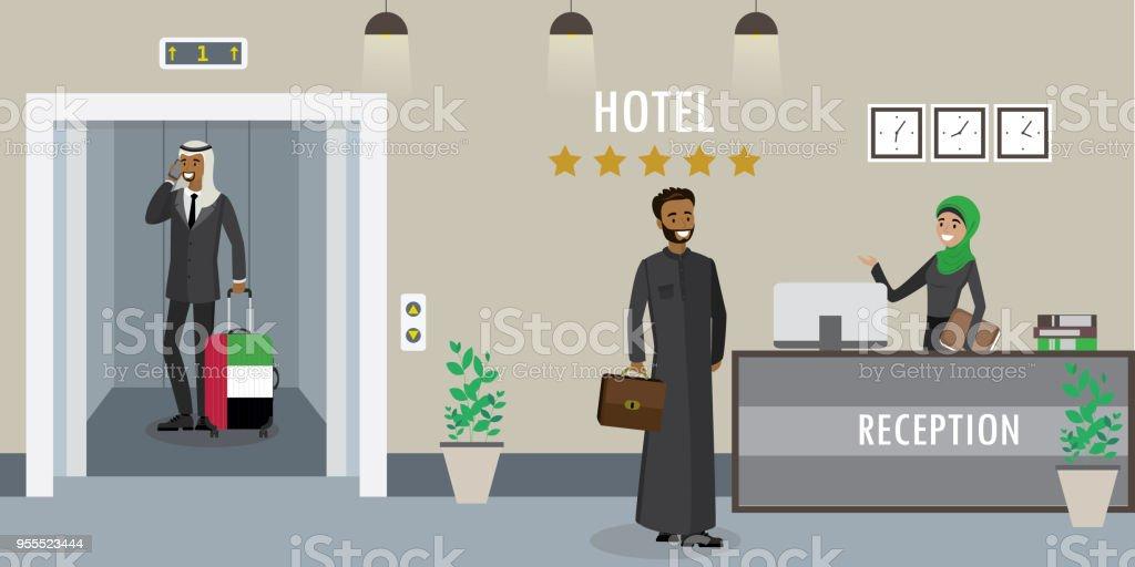 Hotel Rezeption Interieur Junge Arabische Frau Angestellte An Der ...