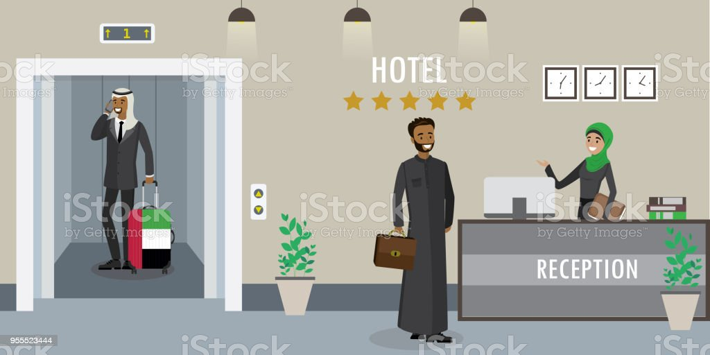https://media.istockphoto.com/vectors/hotel-reception-interioryoung-arabic-woman-receptionist-vector-id955523444