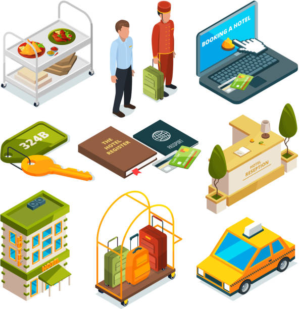 hotel reception, isometric set of motel services illustrations - hotel reception stock illustrations