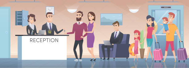 hotel reception. modern interior of guest room big hall with lounge zone lobby in hotel vector cartoon illustration - hotel reception stock illustrations