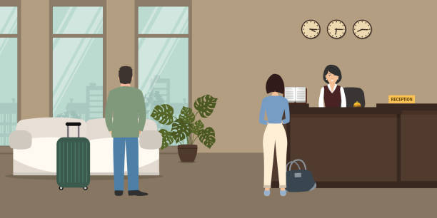 hotel reception. receptionist stands at reception desk and visitors in hall - hotel reception stock illustrations
