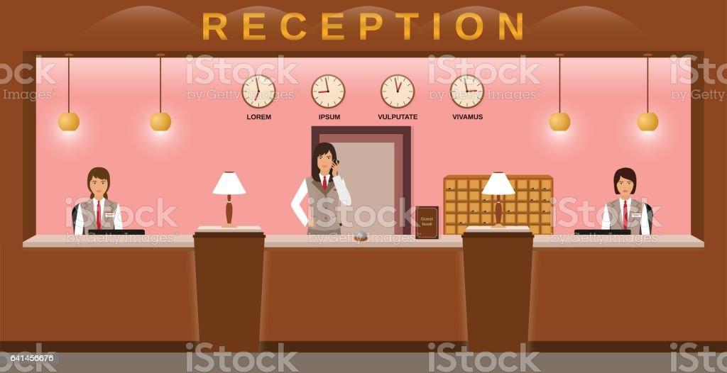 Hotelrezeption Hotelmitarbeiter Begrüßen Gäste Auf Ihrem ...