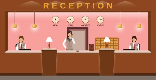 ホテルのフロント サービス。ホテルの従業員は、職場でお客様をお迎えします。ビジネス オフィス受付。 - 受付係点のイラスト素材/クリップアート素材/マンガ素材/アイコン素材