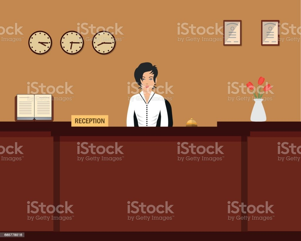Hotel reception. Young woman receptionist stands at reception desk royalty-free hotel reception young woman receptionist stands at reception desk stock vector art & more images of administrator
