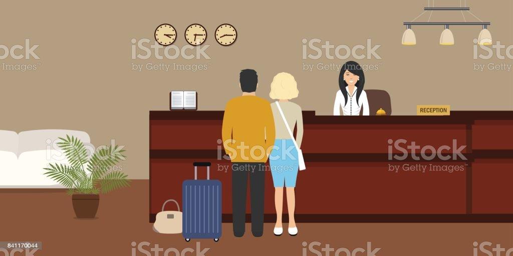 Recepção do hotel. Recepcionista jovem fica na recepção. Há também visitantes aqui - ilustração de arte em vetor