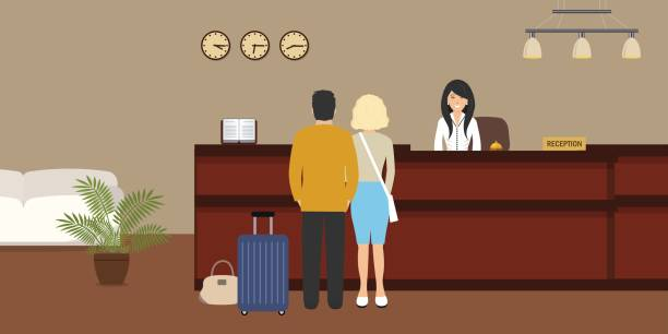 hotel reception. young woman receptionist stands at reception desk. there are also visitors here - receptionist stock illustrations, clip art, cartoons, & icons