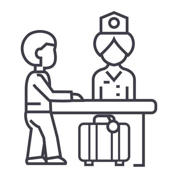 Royalty Free Registration Desk Clip Art, Vector Images