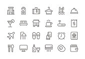 Hotel - Regular Line Icons - Vector EPS 10 File, Pixel Perfect 24 Icons.