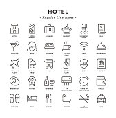 Hotel - Regular Line Icons - Vector EPS 10 File, Pixel Perfect 30 Icons.