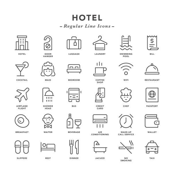 hotel - regularne ikony linii - hotel stock illustrations