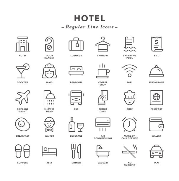 Hotel - Regular Line Icons Hotel - Regular Line Icons - Vector EPS 10 File, Pixel Perfect 30 Icons. hotel stock illustrations