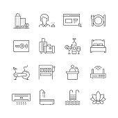 Hotel Related - Set of Thin Line Vector Icons