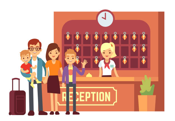 hotel reservation vector concept with young happy family at reception. people on holiday background - hotel reception stock illustrations