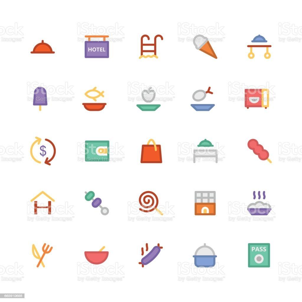 Hotel & Restaurant Colored Vector Icons 3 hotel restaurant colored vector icons 3 - immagini vettoriali stock e altre immagini di acqua royalty-free