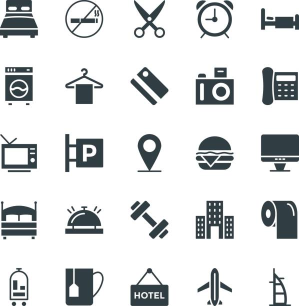 hotel & restaurant cool-vektor-icons 1 - betttablett stock-grafiken, -clipart, -cartoons und -symbole