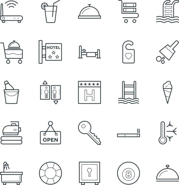 hotel & restaurant cool-vektor-icons 2 - betttablett stock-grafiken, -clipart, -cartoons und -symbole