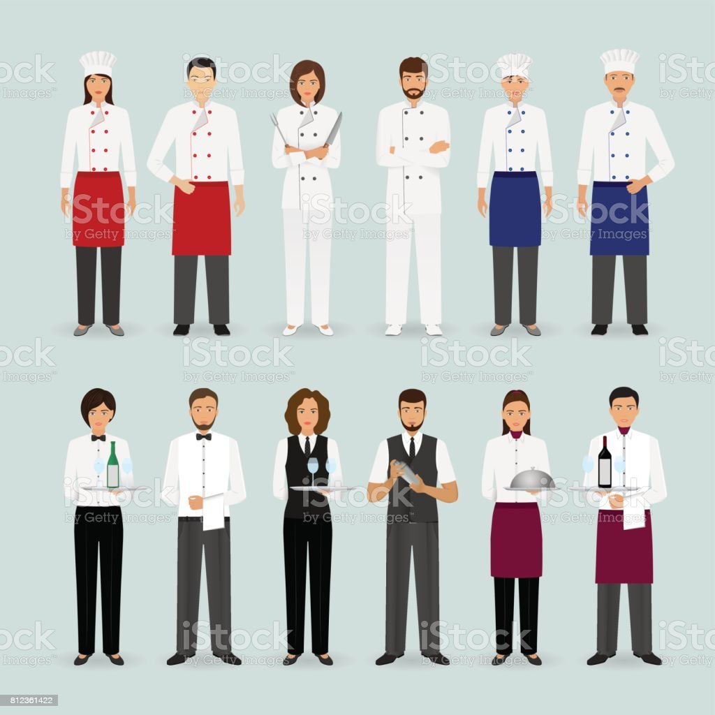 Hotel restaurant male and female team in uniform Group of catering service characters standing together Welcoming banner vector art illustration