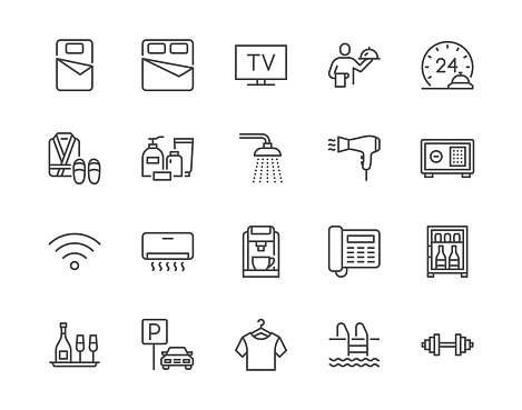 Hotel room facilities flat line icons set. Double bed, reception, room service, bathrobe, slippers, safe, minibar vector illustrations. Outline signs for motel. Pixel perfect 64x64. Editable Strokes