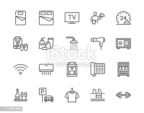 Hotel room facilities flat line icons set. Double bed, reception, room service, bathrobe, slippers, safe, minibar vector illustrations. Outline signs for motel. Pixel perfect 64x64. Editable Strokes.