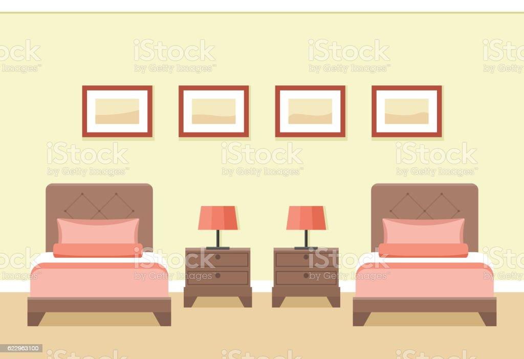 Hotel room interior. Vector illustration. vector art illustration