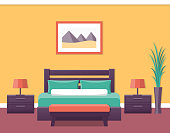 Interior of a hotel room in flat style. Bedroom design. Vector illustration.