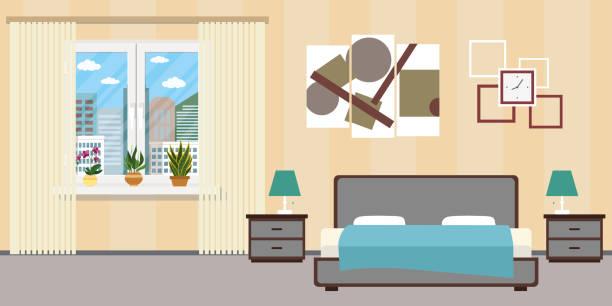 illustrazioni stock, clip art, cartoni animati e icone di tendenza di hotel room or bedroom interior flat design.home furniture. - bedroom