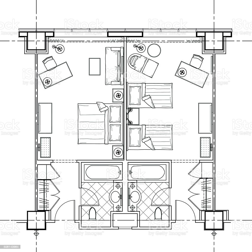 Draw Floorplan Hotel Room Plan Stock Vector Art 506143984 Istock