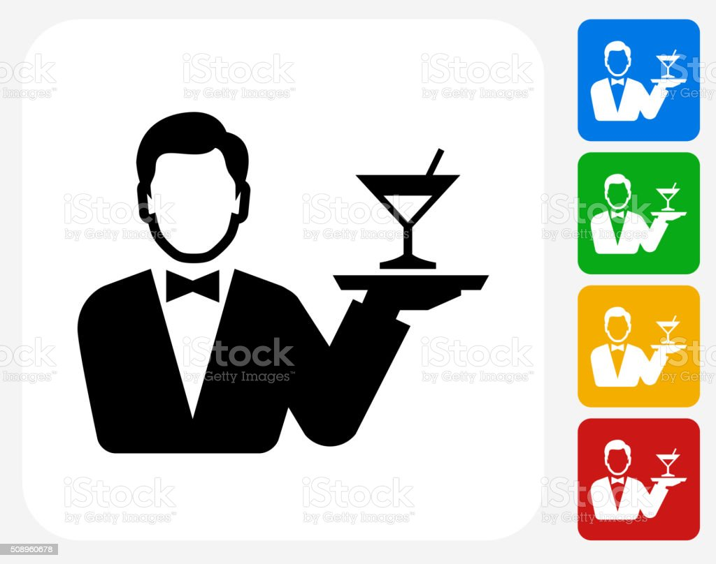 Hotel Room Service Icon Flat Graphic Design vector art illustration