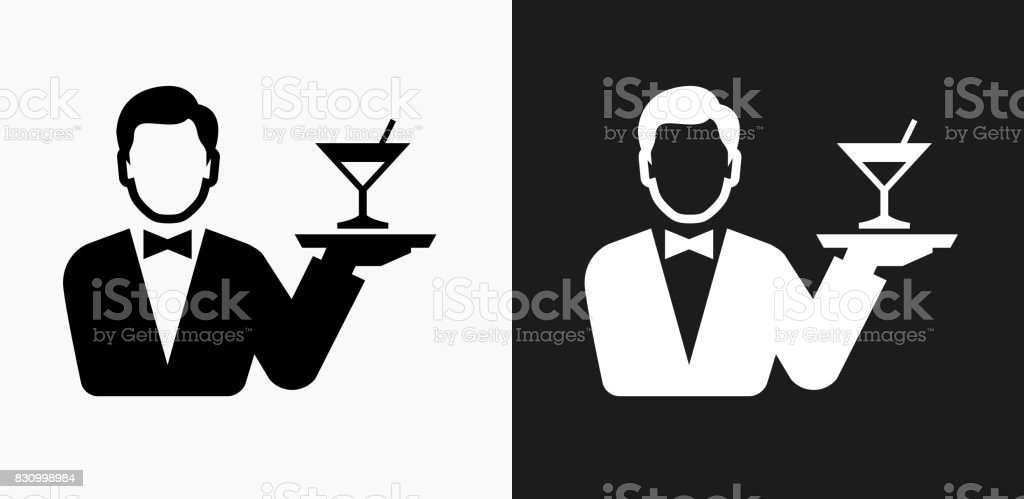 Hotel Room Service Icon on Black and White Vector Backgrounds vector art illustration