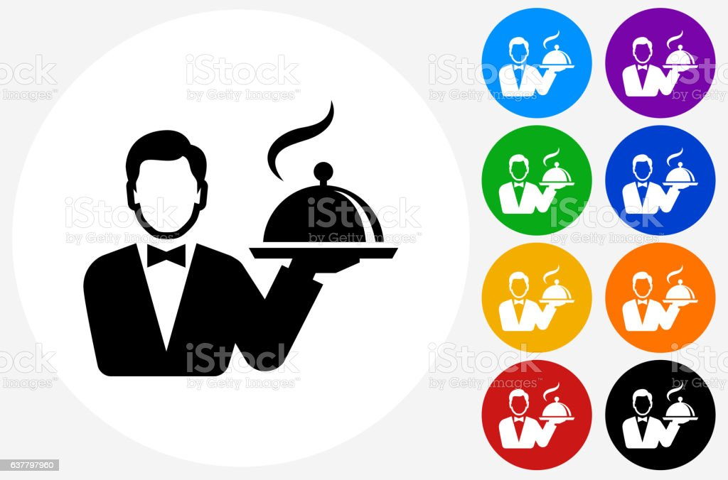 Hotel Room Service Icon on Flat Color Circle Buttons vector art illustration