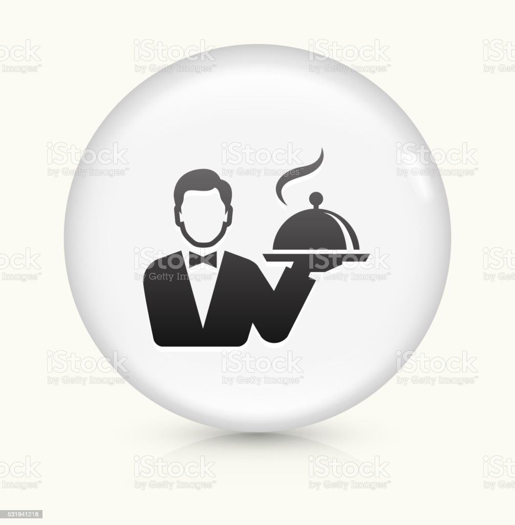 Hotel Room Service icon on white round vector button vector art illustration