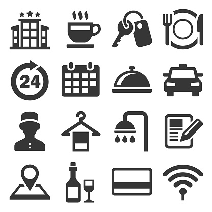 Hotel Room Service Related Icon Set. Vector
