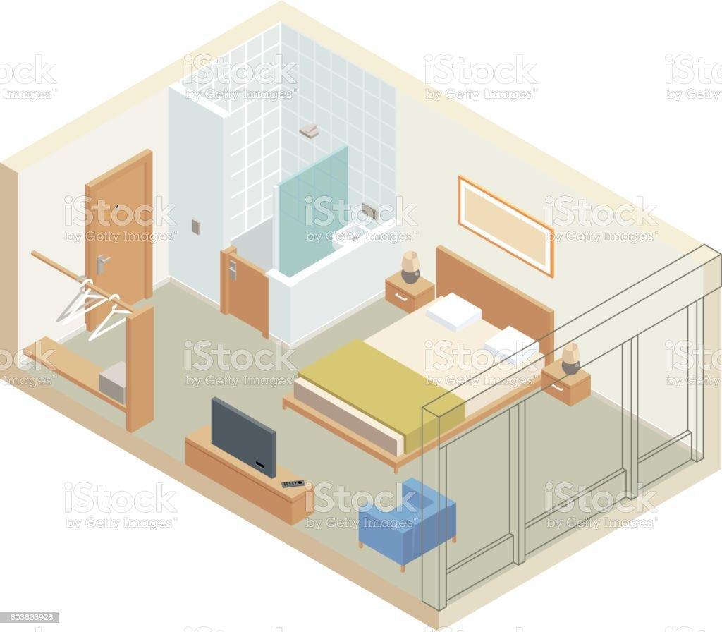 Hotel Room vector art illustration