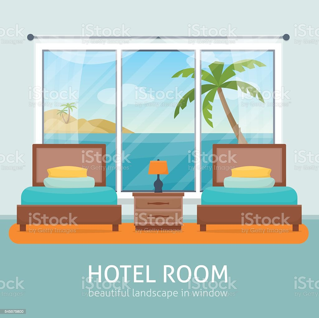 Hotel room with sea vector art illustration