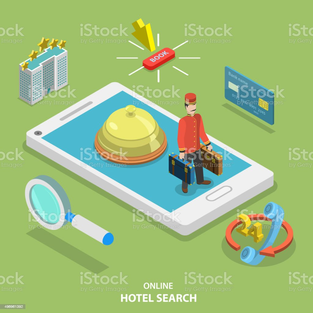 Hotel search online flat isometric vector concept. vector art illustration
