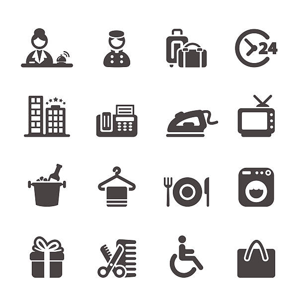 stockillustraties, clipart, cartoons en iconen met hotel service icon set 9, vector eps10 - 2015