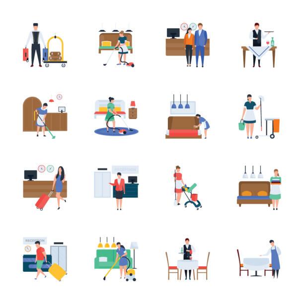 illustrazioni stock, clip art, cartoni animati e icone di tendenza di hotel service icons pack - cameriera
